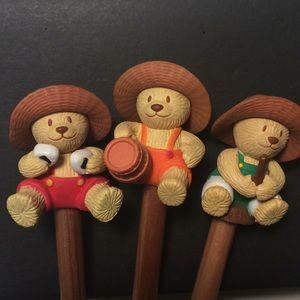 Three adorable Bear pencils
